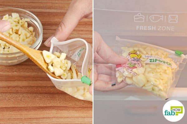 Put the chopped garlic into a ziplock bag and keep it in the fridge to store garlic