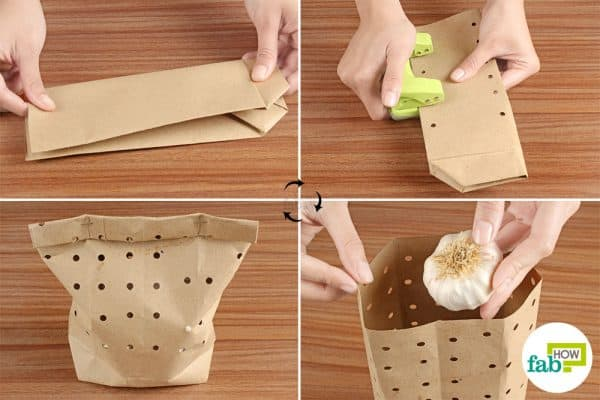 Punch holes in a brown paper bag and keep intact garlic heads in it to store garlic