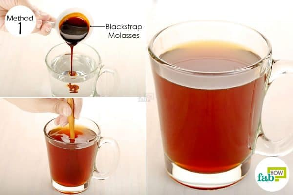 Add blackstrap molasses to warm water and drink it daily to get rid of anemia
