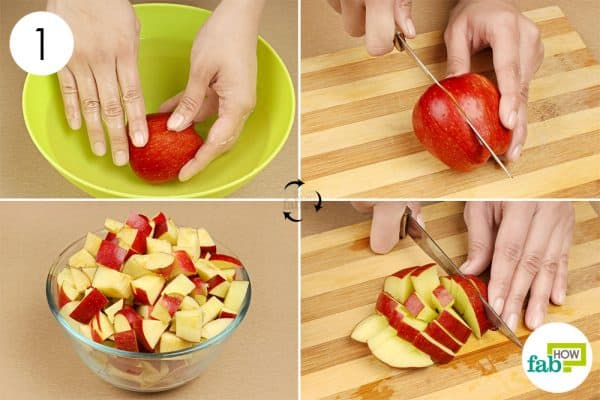 Clean and chop the apples to make apple cider vinegar