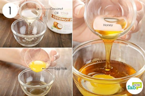 Combine coconut oil, honey and egg yolk to make coconut oil hair mask