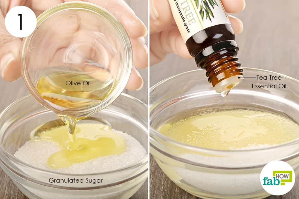 Take white sugar, olive oil and tea tree oil together in a bowl