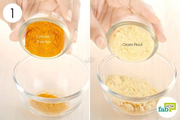 In a bowl mix turmeric and gram flour to make DIY turmeric mask for acne and pimples