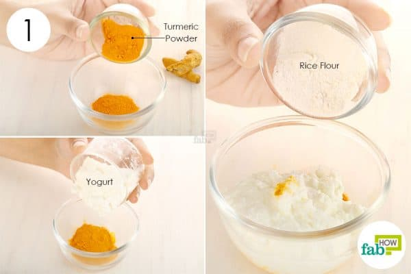 Take turmeric powder, yogurt and rice flour in a bowl