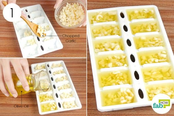 Fill an ice tray with chopped garlic and olive oil to store garlic