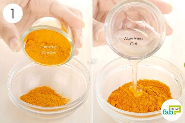 Combine turmeric and fresh aloe vera gel to make DIY turmeric mask for acne