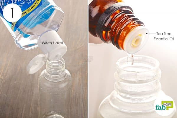 Combine witch hazel and tea tree oil in a spray bottle to make acne mist