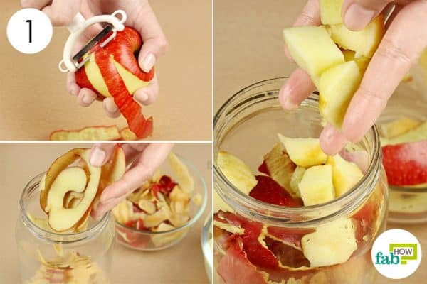 Drop the apples and their peels in the jar to make apple cider vinegar