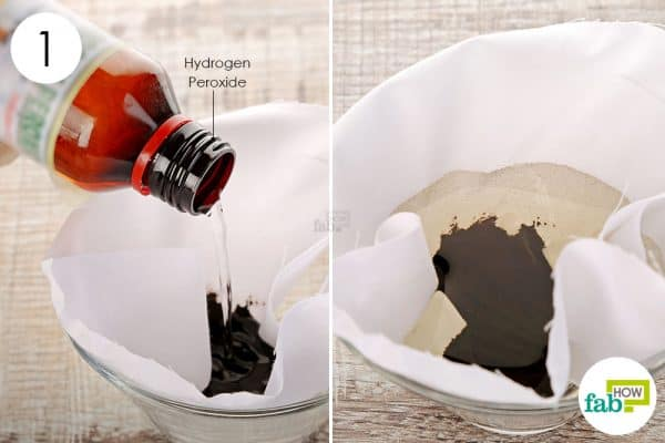 Pour hydrogen peroxide over the stain to get hair dye out of clothes