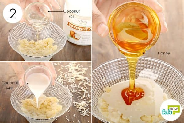 Add coconut oil, milk and honey to the banana pulp to make coconut oil hair mask