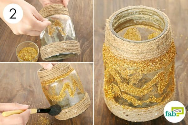Decorate the jar using golden glitter