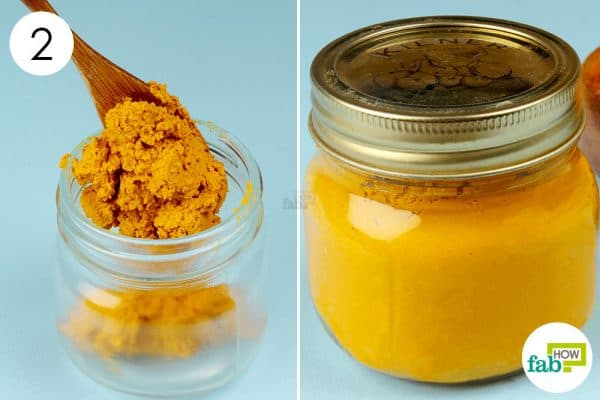 Store the turmeric paste and apply it on sore, painful joints to use turmeric for arthritis