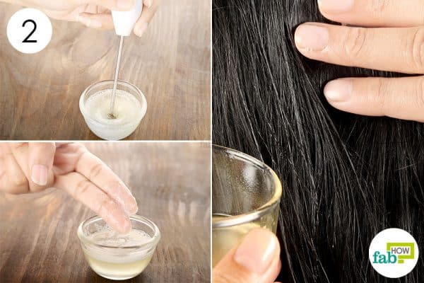 Blend and massage the mask into your scalp and hair to make coconut oil hair mask