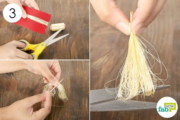 Use thin golden thread to create the tassels
