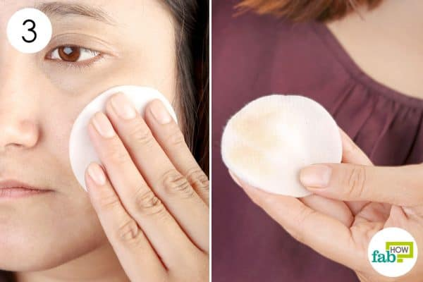 Use the saturated cotton pads to remove makeup gently and effectively