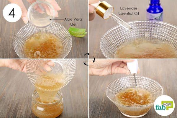 Add aloe vera gel, lavender essential oil and blend well to make DIY hair gel