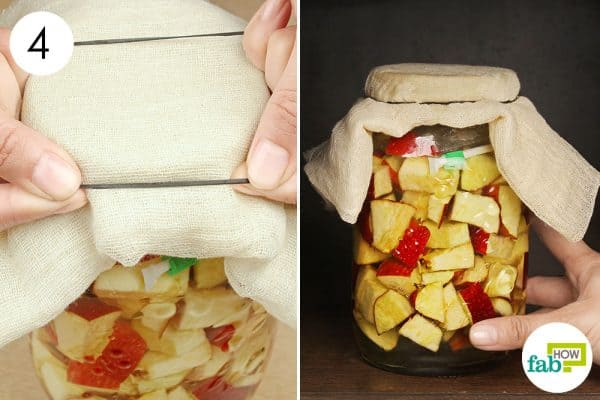 Cover the jar with cheesecloth and let it ferment to make apple cider vinegar