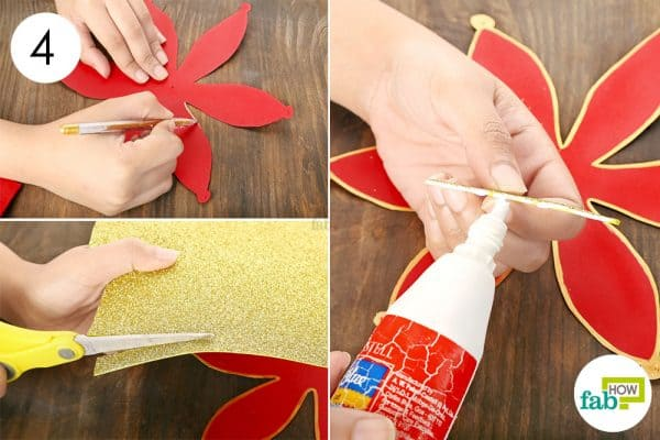Create a thick outline using a gold pen and stick a thin strip of glitter paper in the center