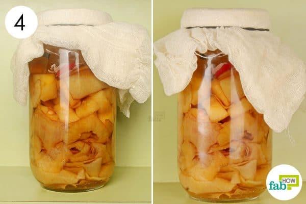 Track the fermentation process at regular intervals to make apple cider vinegar