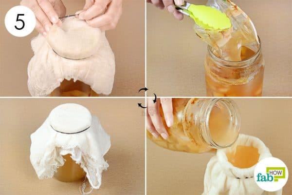 Strain out the vinegar after 2 months to make apple cider vinegar