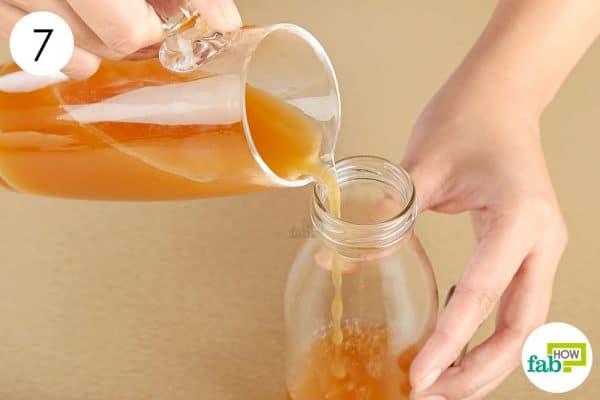 Transfer the apple cider vinegar to an airtight bottle to make apple cider vinegar