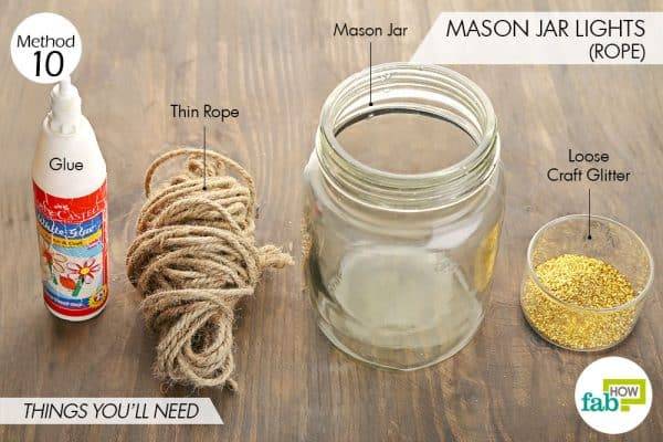 Things needed to make Mason jar lights using rope