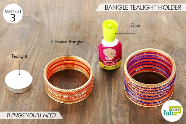 Things needed to make bangle tealight holders this Diwali