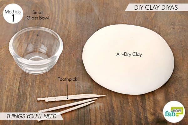 Things needed to make DIY clay diyas this Diwali
