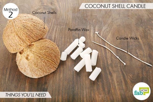 Things needed to make DIY coconut shell candles this Diwali