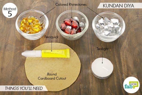 Things needed to make kundan diyas this Diwali