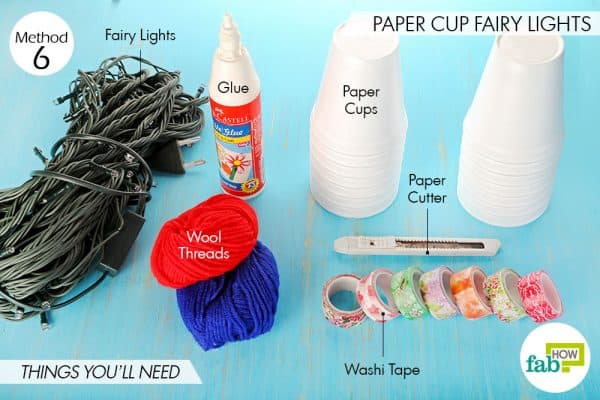 Things needed to make paper cup fairy lights this Diwali
