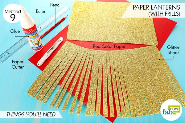 Things needed to make paper lanterns with frills
