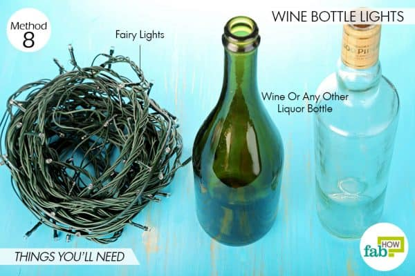Things needed to make wine bottle lights