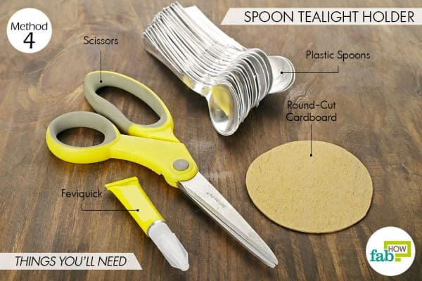Things needed to make spoon tealight holders this Diwali