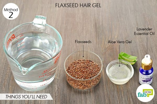 Things needed to make DIY hair gel using flaxseeds