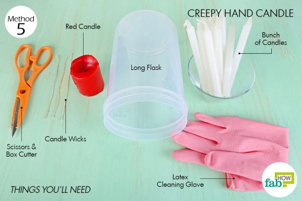 Things needed to make DIY Halloween decoration with candles