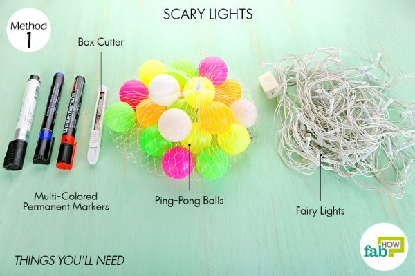 Things needed to make DIY Halloween decorations with ping-pong balls