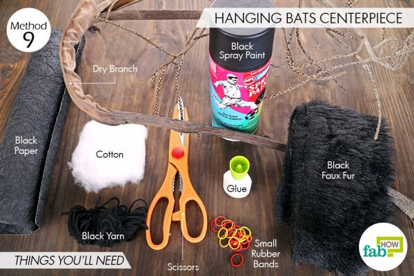 Things needed to make DIY Halloween decorations-hanging bats centerpiece
