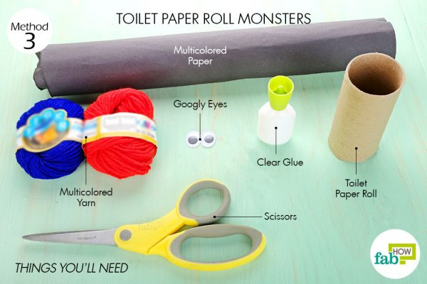 Things needed to make DIY Halloween decorations-toilet paper roll monsters