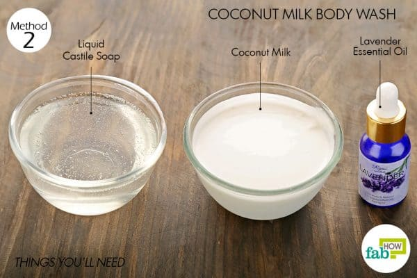 things you'll need to make diy body wash with coconut milk