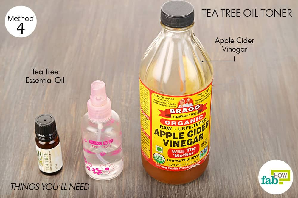 Things needed to make tea tree oil toner using apple cider vinegar