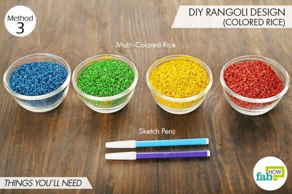 Things needed to make beautiful rangoli design using colored rice