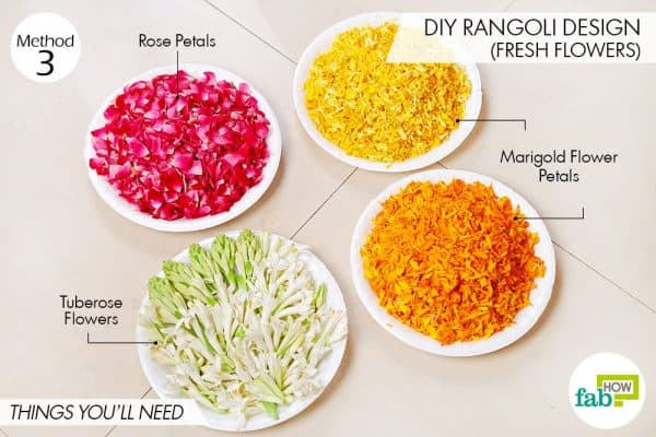 Things needed to make vibrant DIY rangoli design using fresh flowers
