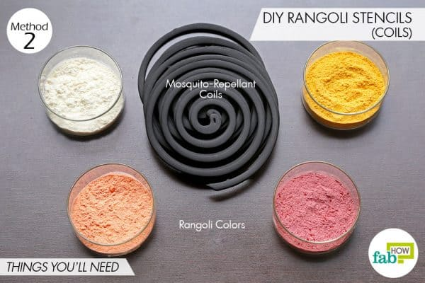 Things needed to make DIY Diwali stencils using mosquito-repellant coils