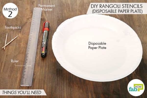 Things needed to make DIY rangoli stencil by using a disposable paper plate