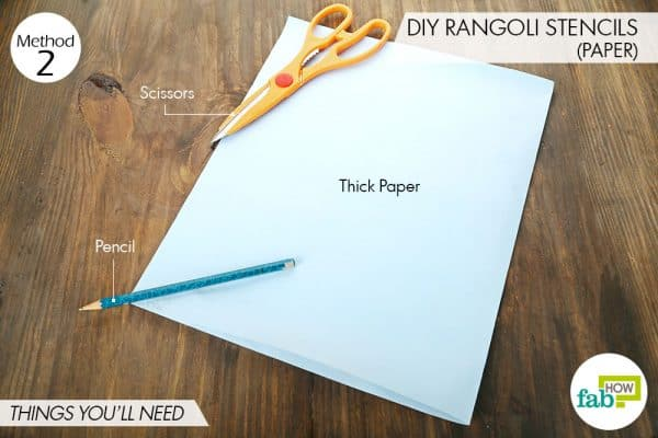 Things needed to make DIY rangoli stencils using paper