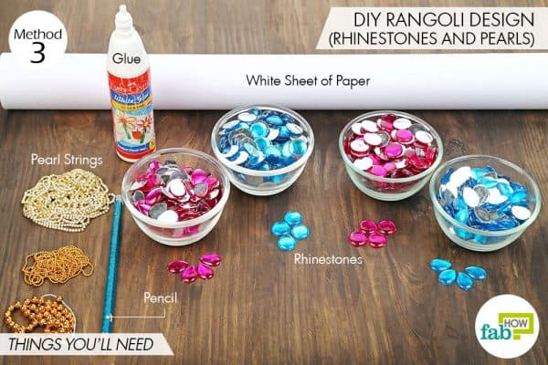 Things needed to make stunning DIY rangoli design using rhinestones and pearls