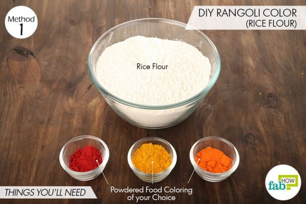 Things needed to make DIY rangoli colors using rice flour and powdered food coloring