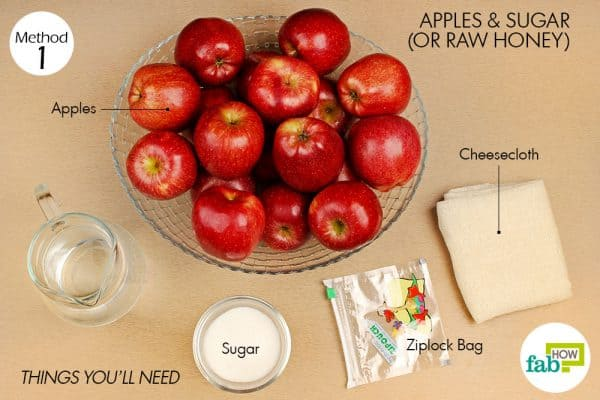 things you'll need to make apple cider vinegar using apple and sugar