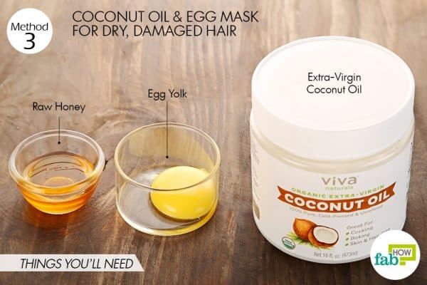 Things you'll need to make coconut oil hair mask for damanged hair